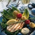 Svärdfisk, grillad med sardellaioli och potatisspett