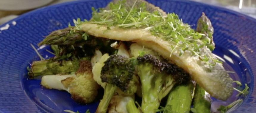 Seabass med ugnsrostade grönsaker